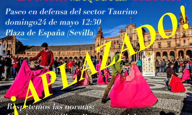 Los paseos en defensa de la tauromaquia en Sevilla y Badajoz, aplazados