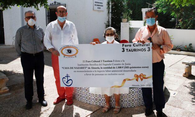 El Foro 3 Taurinos 3 entrega una donación a la Casa Nazaret